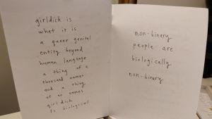 Text p papper, handlar om girldick. poesi