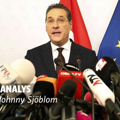 Vicekansler Strache på presstillfälle. Bilden har en analysstämpel med bild på Johnny Sjöblom.