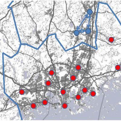 Karta över det tilltänkta metropolområdet, bilden anger hur man tror att kommunstrukturen kommer att se ut i framtiden, alltså prickarna visar var invånare/service kommer att finnas.