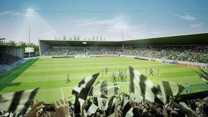 Vision av hur den nya fotbollsstadion i Vasa kan se ut.