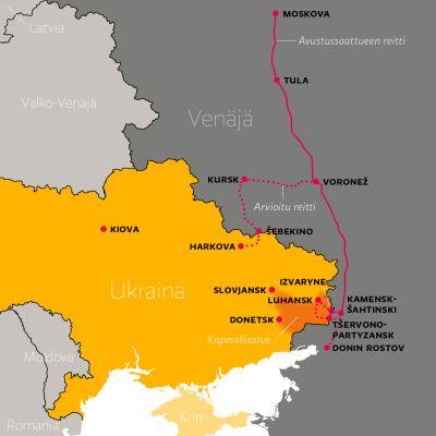 Venäjän avustussaattueen reitti Ukrainaan.
