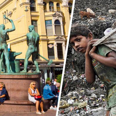 kolmensepän patsas ja köyhä lapsi kantaa jätettä