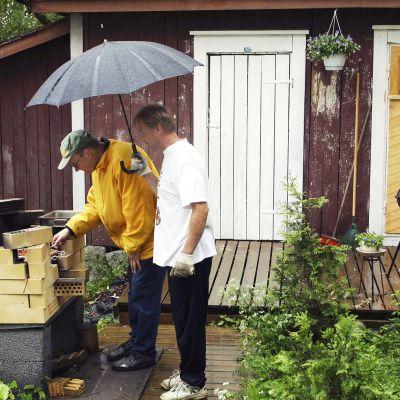 Miehet grillaavat sateessa.