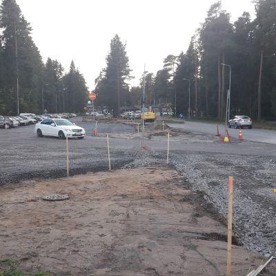 Pysäköintialue parkkipaikka Isomäki Pori tietyömaa pysäköinti