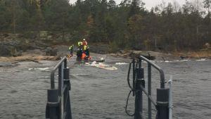 Västra Finlands sjöbevakningssektion räddar en man från det kalla havet.