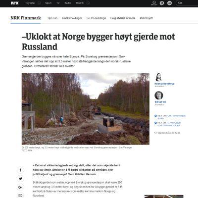 NRK:n sivuilla on valokuva Storskogin työmaasta.