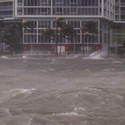 Hurrikaanin tulvavesi virtaa Miamissa, Floridassa.