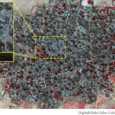 Satellitbild av Doro Baga i den 7 januari 2015, efter att staden attackerats av Boko Haram