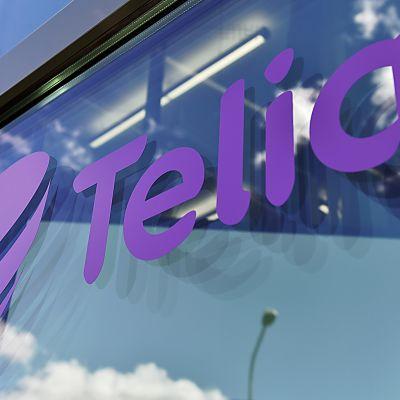 Telian logo ikkunassa