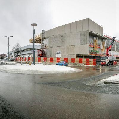 Nokian kirjaston rakennustyömaa