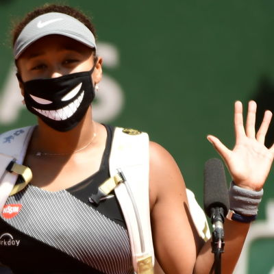Japanskan Naomi Osaka efter sin första match i Franska mästerskapen 2021.