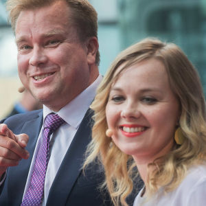 Centerns ordförandekandidater Antti Kaikkonen och Katri Kulmuni