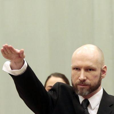 Anders Behring Breivik oikeudenkäynnin ensimmäisenä päivänä 10.1. 2017. Skienin vankilassa kokoontuva hovioikeus käsittelee Breivikin ihmisoikeuksia vankilassa. Kuvassa Breivik nostanut kätensä natsitervehdykseen. Breivikon ajanut päänsä kaljuksi ja kasavattanut parran.