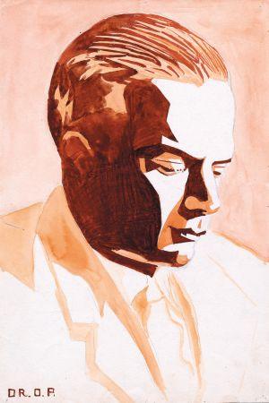 Kubofuturistisk målning föreställande Henry Parland, gjord av brodern Oscar Parland.