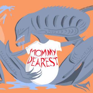 """Kuvituskuva Radio Variaation feature-ohjelmaan Äitini on alien. Kuvassa piirros """"alienista"""" ja siinä lukee Mommy dearest."""