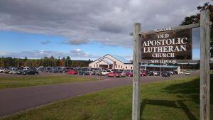 Församlingsskylt i Tapiola, Michigan