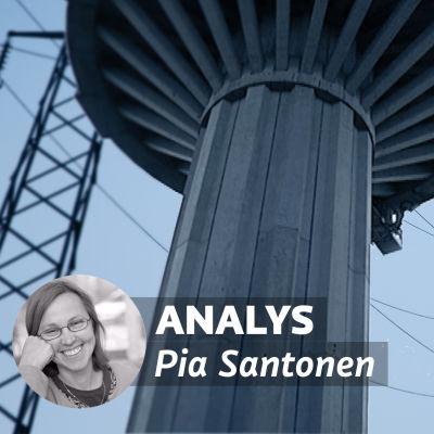 Bildcollage av kraftledningar och Ekenäs vattentorn.