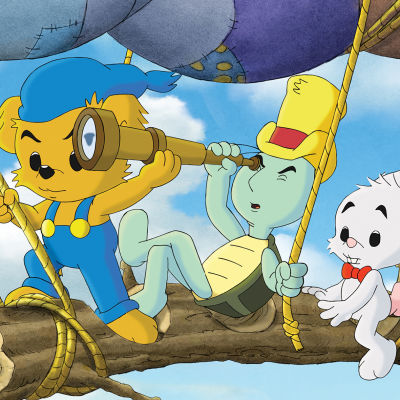 Ba,se, Skalman och Lille Skutt åker hemmagjord luftballong.