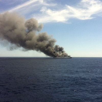Färja från Mallorca till Valencia började brinna.