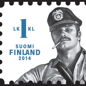 Frimärke med Tom of Finland-motiv