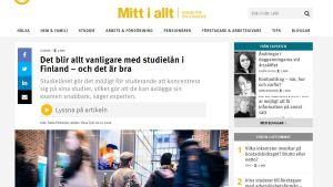 En skärmdump av FPA:s webbsida om studielån.