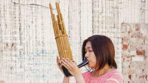 Nainen soittaa puisista putkista rakennettua suu-urkusoitinta