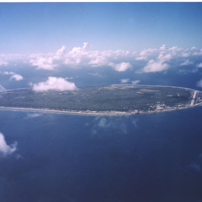 Flygbild av östaten Nauru.