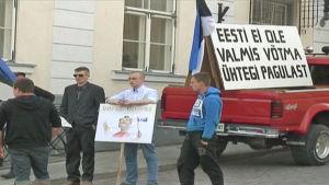 Demonstaration mot flyktingar i Estland
