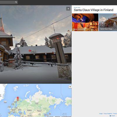 Joulupukin pajakylä Googlen Street View-palvelussa.