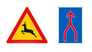 Två vägmärken, till vänster varning för rådjur och till höger sammanvävning av körfält.