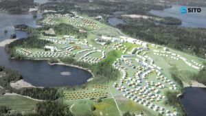 Planeringsbolaget Sitos vision över hur Fagernäs kan se ut i framtiden. Hundratals nya hus, 3 000 invånare,