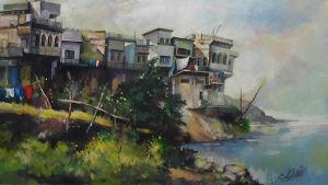 Fotograf av detalj ut målning av Basher Taha föreställande Mosul sedd från Tigris