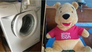 bild av tvättmaskin och Nalle Puh-gosedjur som var aktuella i Bytesbörsen.