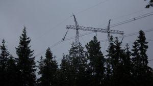 Kraftledningar vid Sannäsvägen i Karis