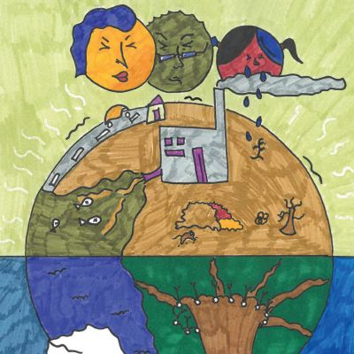 Maapallon tulevaisuus ja lapsen oikeudet -teoksen kuvitusta.