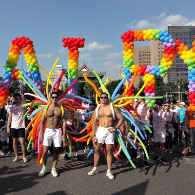 Taiwanin Taipeissa marssittiin vähemmistöjen oikeuksien puolesta viime vuoden lokakuussa.