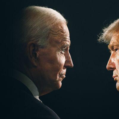 Kuvakollaasi Joe Bidenista katsomassa Donald Trumpia.