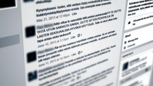 Hatisk diskussion i facebookgruppen mot pedofiler.