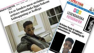 skärmdump av dagstidningar om Yasin