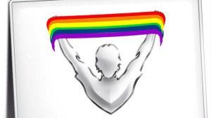 Fotbollsligans logo med regnbågsfärger.