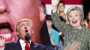 Presidentkandidaterna Donald Trump och Hillary Clinton.