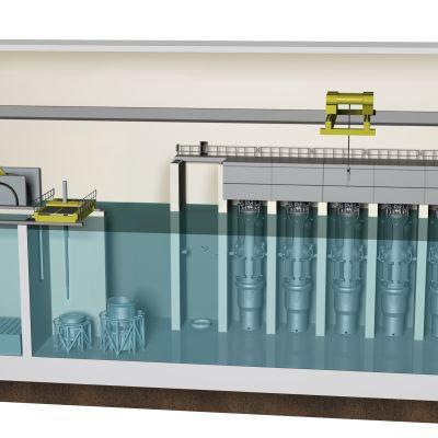 NuScale reaktorirakennuksen havainnekuva.