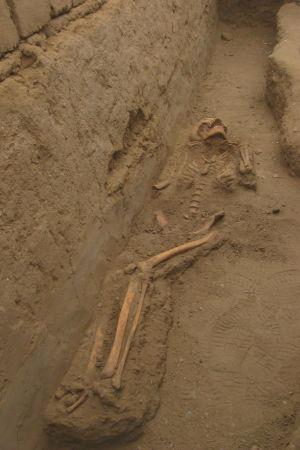 En vuxen chimu-kvinnas skelett som hittades under arkeologiska grävningar i Peru år 2009.