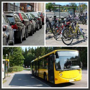 anslutningsparkering för cyklar eller bilar som stöd för kollektivtrafiken.