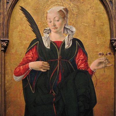 Francesco del Cossas målning av Sankta Lucia, med sina utstuckna ögon i handen.