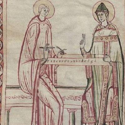 Munkki Guido Arezzolainen (vas.).
