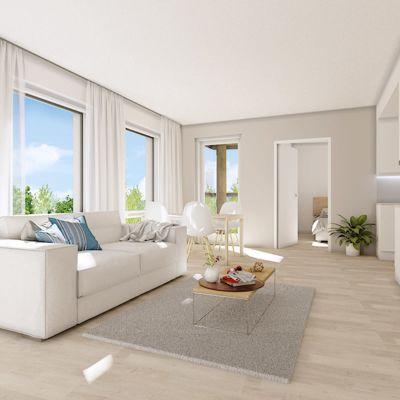Illustration av en ljus lägenhet med ljusa möbler.