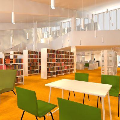 Läsesal för tidskrifter i Sibbo huvudbibliotek.