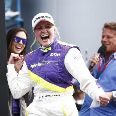 Emma Kimiläinen efter segern i W Series i Assen.