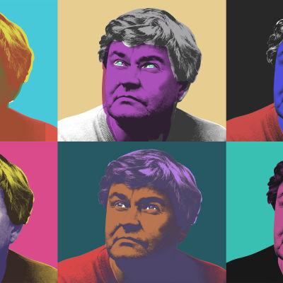 Hannu Mäkelän kuva käsitelty Andy Warhol -tyyliin